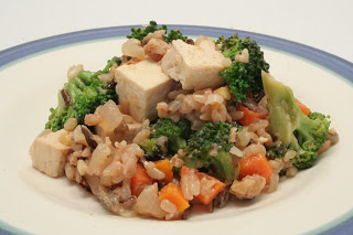 sesame vegetables with rice and tofu