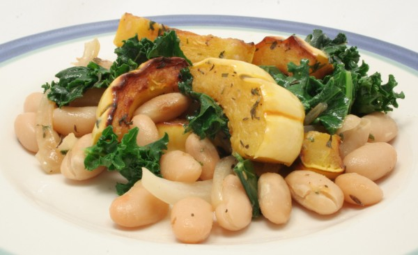 Delicata Squash with Kale and Beans
