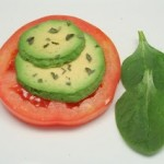 Tomato Slices w/ Avocado and Basil