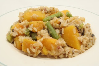 baked rice with butternut squash and asparagus