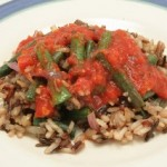 Chinese Long Beans and Wild Rice with Roasted Red Pepper Sauce