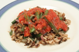 chinese long beans and wild rice with red pepper sauce